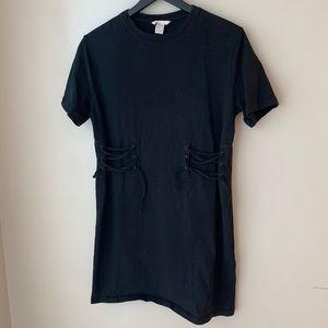 H&M | Black Corset/Tie Waist T-Shirt Dress